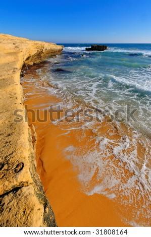 Beautiful beach along Great Ocean Drive of Australia - stock photo