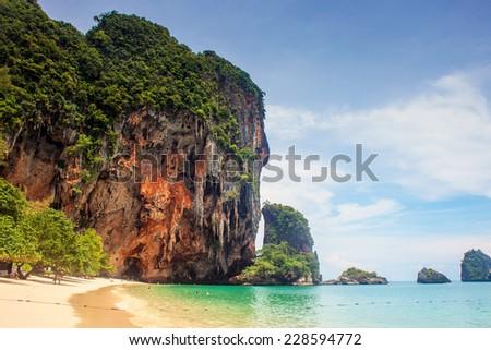 Beautiful beach and limestone landscape at Railay, Krabi province, Thailand - stock photo