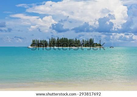 Beautiful beach and tropical island in Langkawi, Malaysia - stock photo