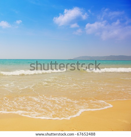 Beautiful beach and waves - stock photo