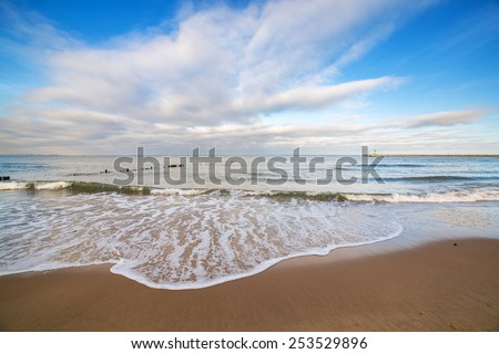 Beautiful beach at Baltic Sea in winter time, Poland - stock photo