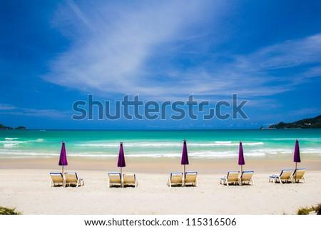 Beautiful beach at Patong beach , Phuket, Thailand - stock photo