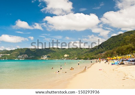 Beautiful beach at Patong beach , Phuket, Thailand - stock photo