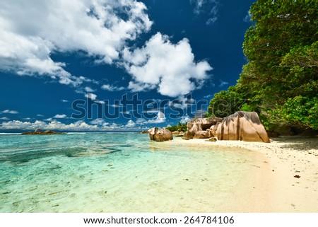 Beautiful beach at Seychelles, La Digue, Anse Source d'Argent - stock photo