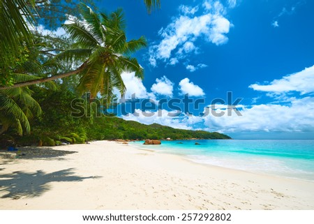 Beautiful beach at Seychelles, Praslin, Anse Lazio - stock photo