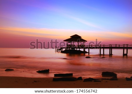 beautiful beach at sunset - stock photo
