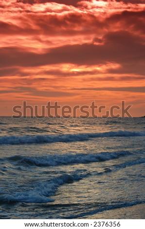 Beautiful beach at sunset on Corfu island, Greece - stock photo
