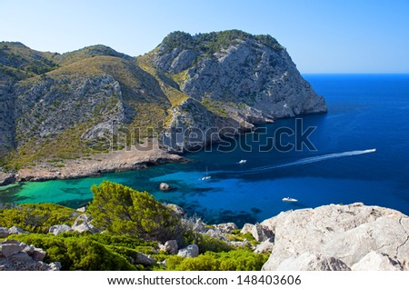 Beautiful Beach Bay Called Cala Figuera on Cape Formentor in Mallorca, Spain ( Balearic Islands ) - stock photo