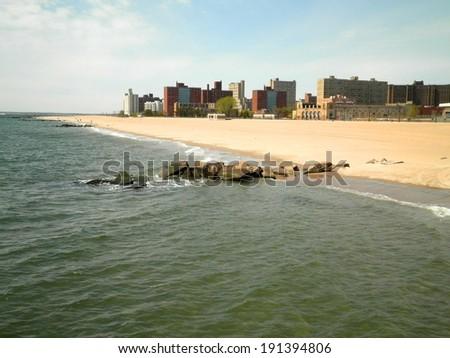 Beautiful beach Brooklyn city New York. - stock photo