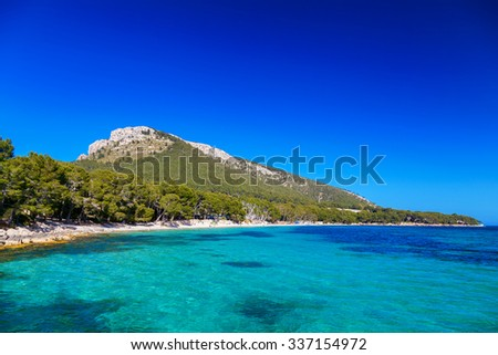 beautiful beach Cala Pi de La Posada at the cape Formentor, Mallorca, Spain - stock photo