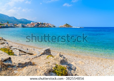 Beautiful beach in Kokkari town, Samos island, Greece