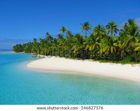 Beautiful beach in One Foot Island, Aitutaki, Cook Islands - stock photo