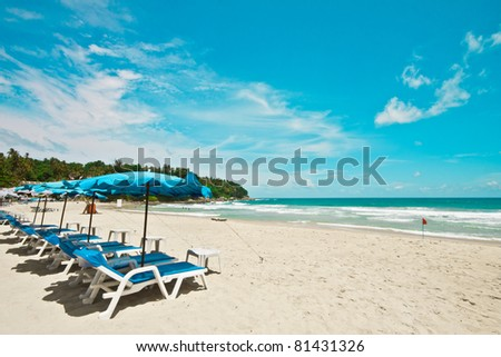 Beautiful beach in sunny day with clear blue sky, Phuket, Thailand