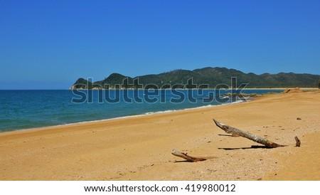 Beautiful beach in the Abel Tasman National Park. Waiharakeke Bay. Travel background. - stock photo