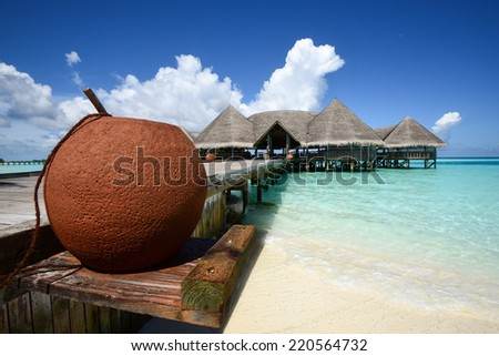 Beautiful beach landscape at Gili Lankanfushi in the Maldives - stock photo
