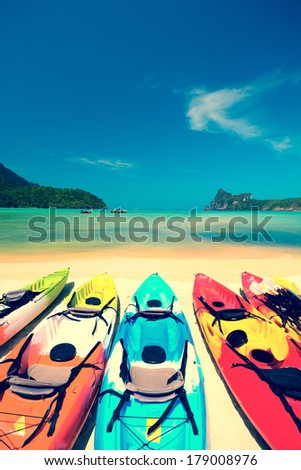 Beautiful beach landscape in Thailand with instagram filter effect - stock photo