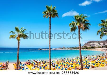 Beautiful beach of Playa de Amadores near Puerto Rico town, Gran Canaria, Canary Islands. Spain - stock photo