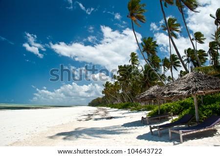 Beautiful beach of white sand in Matemwe, Zanzibar - stock photo