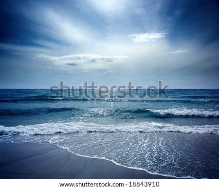 Beautiful Beach on Sea Lion Island - stock photo