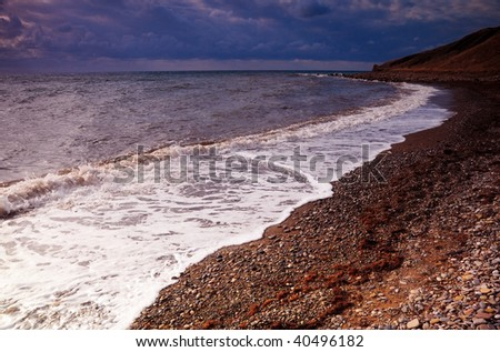 Beautiful Beach on Sea Lion Island - stock photo