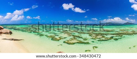 Beautiful beach panoramic view on a paradise island near the ocean on Mauritius - stock photo