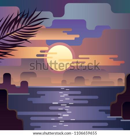 Beautiful Beach Sunset Landscape Moon On The Sky Flat Illustration