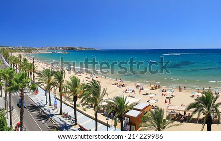 Beautiful beach view from balcony��� during sunny day - stock photo