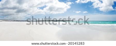 Beautiful beach Volunteer Point - Falkland Islands - stock photo