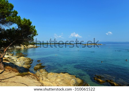 beautiful beach whit turquoise water  in Sithonia, Halkidiki, Greece