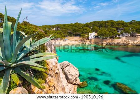Beautiful beach with azure turquoise sea water, Cala Gat, Majorca island, Spain  - stock photo