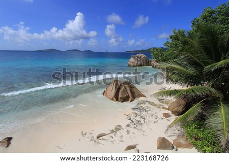 Beautiful beach with palm trees and granite rocks at La Digue, Seychelles.
