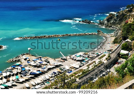 Beautiful beach with view on mediterranean in Levanto in Italy - stock photo