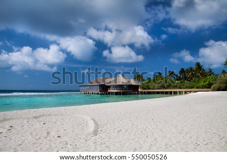 Beautiful beach with water bungalow at Maldives - Indian ocean resort