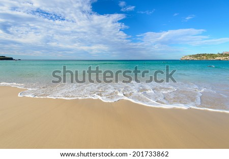beautiful beach with White sand - stock photo