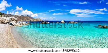 beautiful beaches of Greek islands - Apella in Karpathos - stock photo