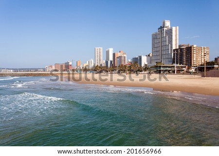 beautiful beachfront of Durban, South Africa - stock photo