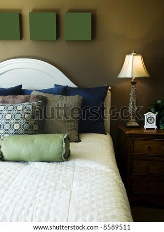 Beautiful bedroom interior - stock photo