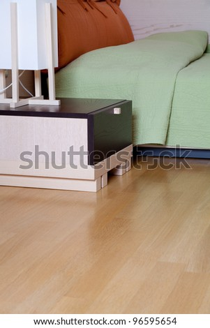 beautiful bedroom interior closeup - stock photo