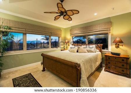 Beautiful Bedroom Interior in New Luxury Home, Interior Design - stock photo