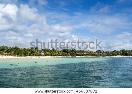 Beautiful Belle Mare coastline in Mauritius