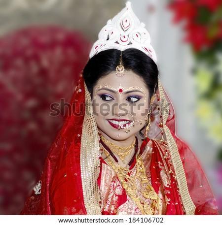 Beautiful bengali bride - stock photo