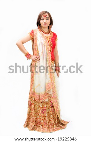Beautiful Bengali bride in colorful dress, isolated - stock photo
