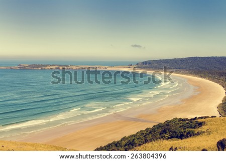 Beautiful big sandy beach on the South Island of New Zealand - stock photo