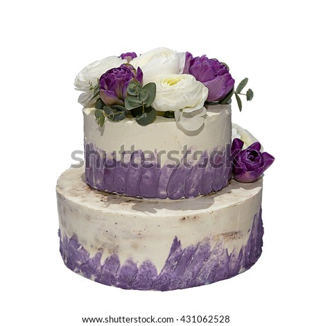 Beautiful Birthday Cake Decorated Fresh Flowers Stock Photo Image