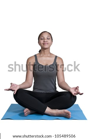 Beautiful black African American woman doing her Yoga exercises - stock photo