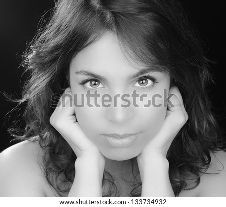 Beautiful Black and White Image of a Latino Glamour Model - stock photo