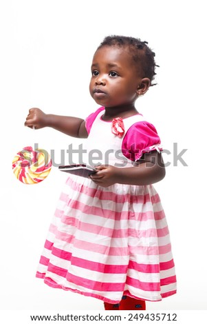 Beautiful black baby girl isolated in white - stock photo