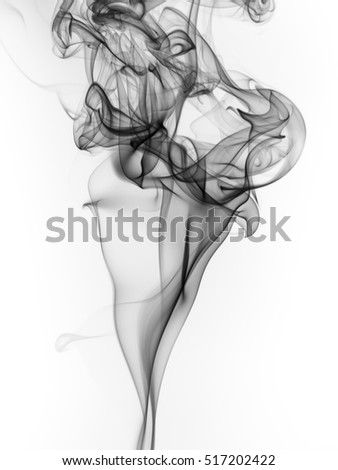 beautiful black smoke abstract on white background. art of smoke