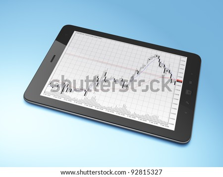 Beautiful black tablet computer pc on blue background, 3d render. - stock photo