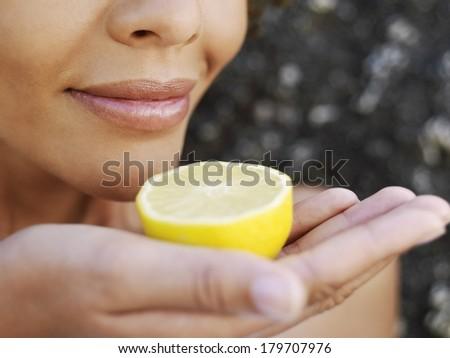 Beautiful black woman at spa - stock photo